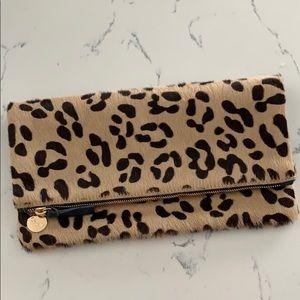 Clare V. Foldover Leopard Clutch